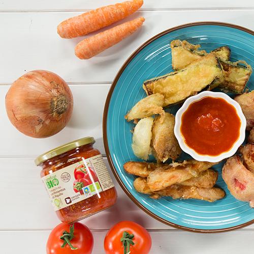 tempura de verduras con tomate frito