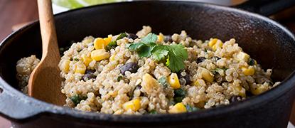 Ensalada de quinoa con setas shiitake y maíz bio