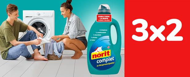 3x2 En todos los detergentes Norit Diario y Complet