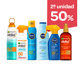 2 unidad -50% en protección solar y after sun