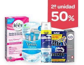 2ª unidad -50% en productos de depilación