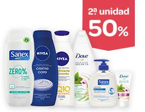 2ª unidad -50% en productos de cuidado corporal