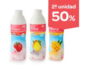 2ª 50% Yogur líquido sabores, 0,0% y sin lactosa Carrefour