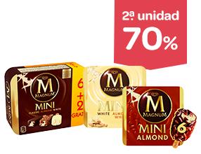 2 unidad -70% en helado de almendras, clásico o blanco Magnum pack 6 unidades
