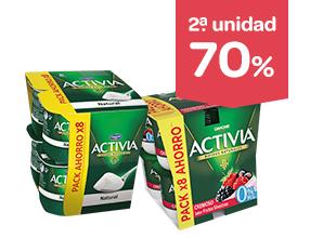 2ª unidad -70% en Activia 125g pack 8 unidades