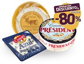 Hasta un 80% de dto con un 10% dto asegurado en TODOS los quesos de Francia