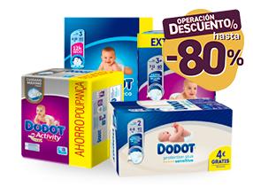 Hasta un 80% de dto con un 10% dto asegurado en estos productos Dodot