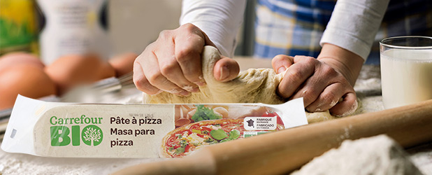 Masa de hojaldre o de pizza carrefour bio elaboradas con trigo ecológico a 2,05 €